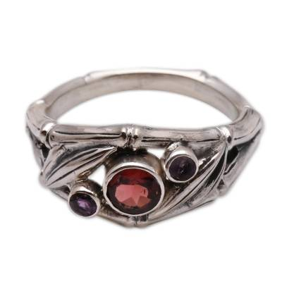 Amethyst and garnet 3 stone ring, 'Bamboo Mambo' - Garnet and Sterling Silver Ring