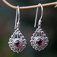 Garnet dangle earrings, 'Heart of Peace'