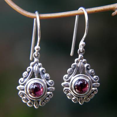 Garnet dangle earrings, 'Heart of Peace' - Sterling Silver Garnet Dangle Earrings