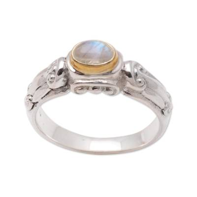 Gold accent rainbow moonstone solitaire ring, 'Swirls and Twirls' - Silver and Rainbow Moonstone Solitaire Ring