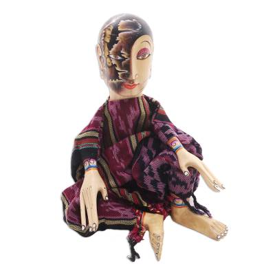 Carved wood display doll, 'Under the Black Moon' - Carved Wood Display Doll