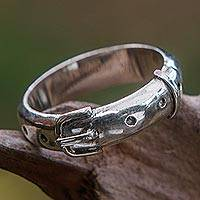 Sterling silver band ring, 'Belt' - Modern Handmade Sterling Silver Band Ring
