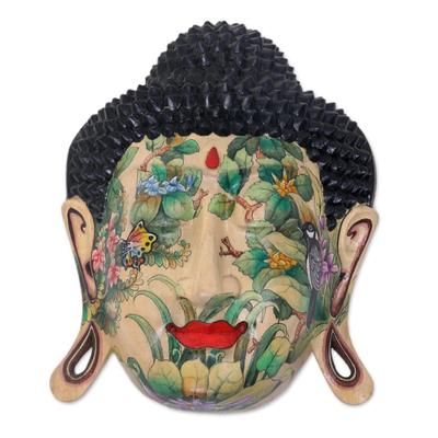 Wood mask, 'Delighted Buddha' - Wood mask