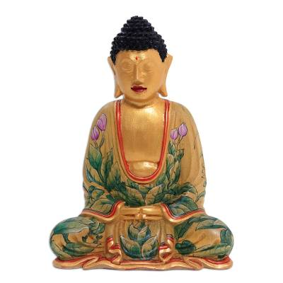 Wood statuette, 'Buddha of Paradise' - Hand Painted Wood Sculpture