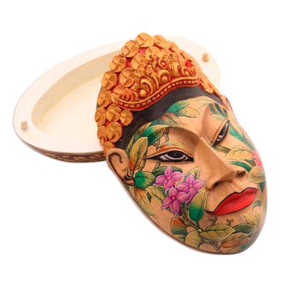 Wood jewelry box, 'Flower Woman of Bali' - Wood jewelry box