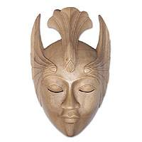 Wood mask, 'Sleeping Miss Fan' - Hibiscus Wood Modern Mask