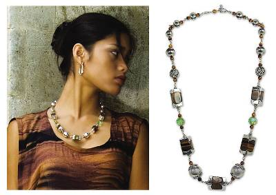 Tiger's eye necklace, 'Tiger Trance' - Beaded Tiger's Eye and Silver Necklace