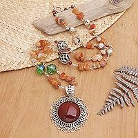 Carnelian pendant necklace, 'Fiery Splendor' - Carnelian pendant necklace