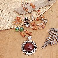 Carnelian pendant necklace, 'Fiery Splendor'