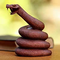 Wood statuette, 'Coiled Snake' - Handcrafted Snake Statuette from Indonesia