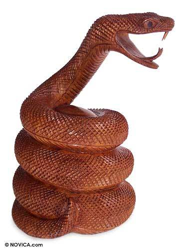 Wood statuette, 'Coiled Snake' - Hand Carved Wood Statuette