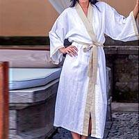 Women's robe, 'Fly Away in Beige' - Indonesian Handcrafted Women's Rayon Robe