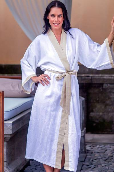 Women's robe, 'Fly Away in Beige' - Women's Handmade Rayon Robe from Bali