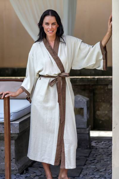 Women's robe, 'Fly Away in Brown' - Women's Ivory Robe