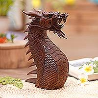 Wood statuette, 'Dragon's Head' - Wood Statuette from Indonesia