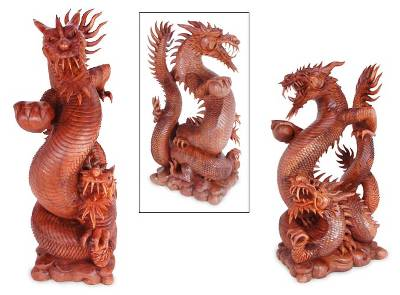 Wood statuette, 'Coiling Dragons' - Handcrafted Wood Sculpture