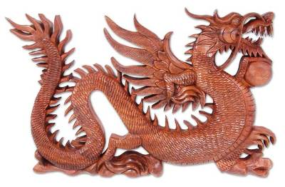 Wood relief panel, 'Winged Fire Dragon' - Unique Wood Relief Panel