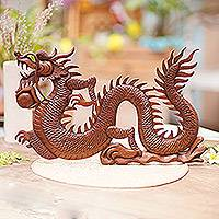 Wood relief panel, 'Fire Dragon' - Suar Wood Relief Wall Panel
