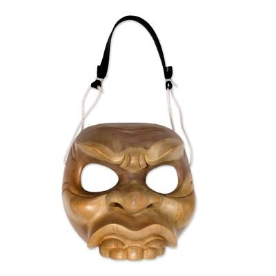 Fair Trade Balinese Wood Mask with Leather Hanging Strap
