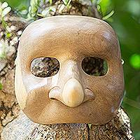Wood mask, 'Big Nose' - Hibiscus Wood Theatrical Mask