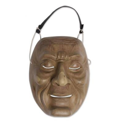 Wood mask, 'Anger' - Hand Carved Wood Theatrical Mask