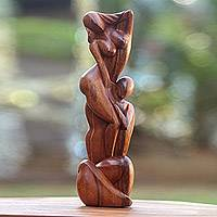 Wood statuette, 'Please Do Not Go' - Romantic Wood Statuette