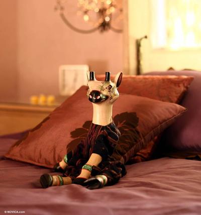 Wood display doll, 'Giraffe Remembers' - Folk Art Wood Display Doll