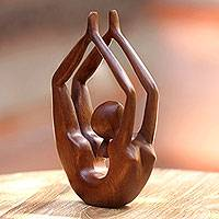 Wood sculpture, 'Lithe Gymnast' - Wood sculpture