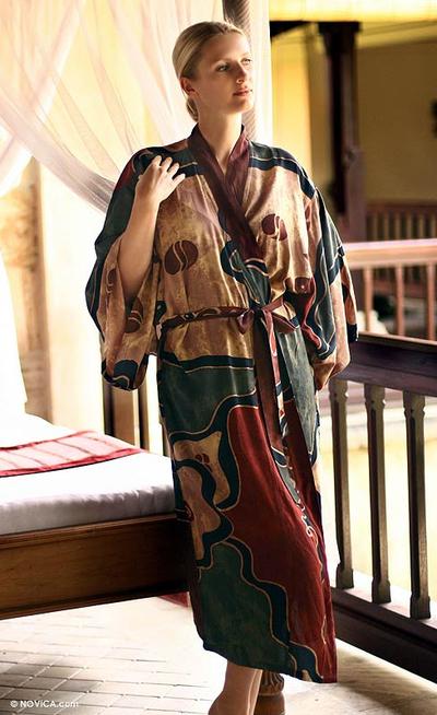 Women's batik robe, 'Russet Hills' - Women's batik robe