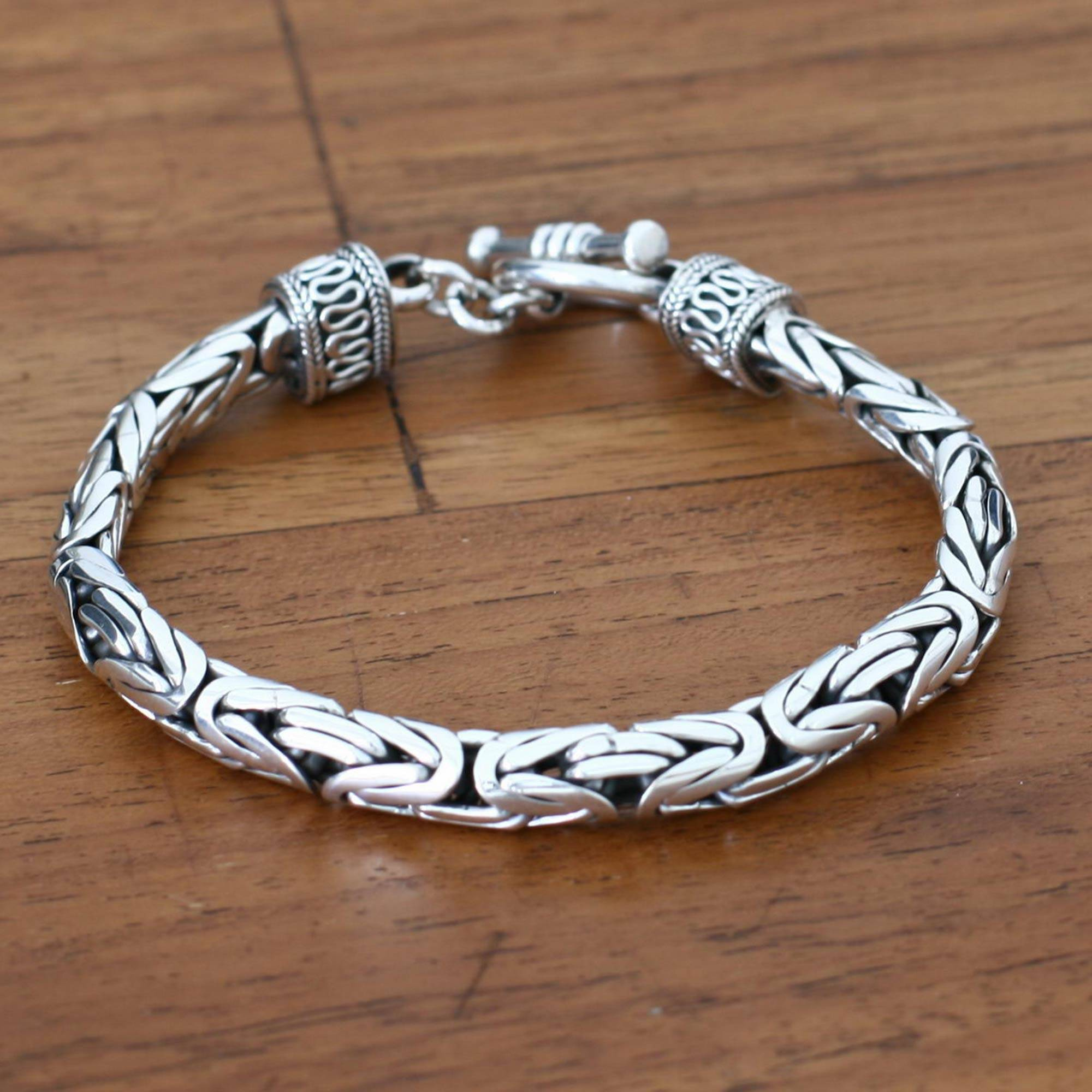 Men s Sterling Silver Bracelet Silver Dragon