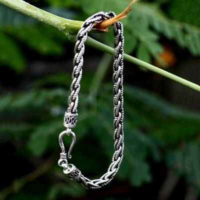 Mens sterling silver link bracelet, Flowing River