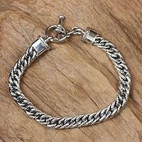 Men's sterling silver braided bracelet, 'Sparkling Brook' - Unique Handcrafted Men's Sterling Silver Braided Chain Brace