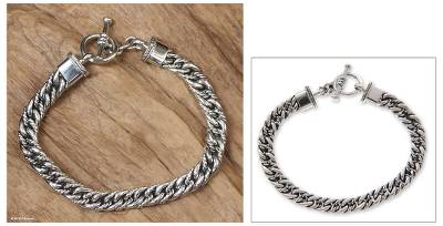 Men's sterling silver braided bracelet, 'Sparkling Brook' - Men's Silver Braided Bracelet