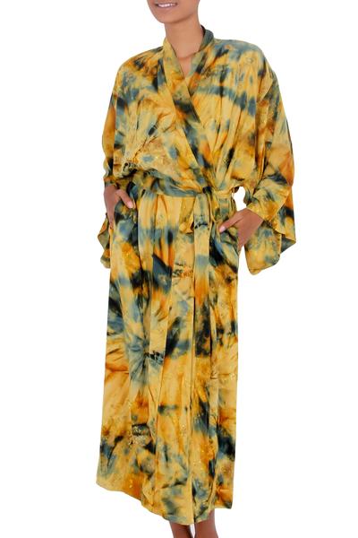 Women's batik robe, 'Golden Firebirds' - Women's Batik Patterned Robe