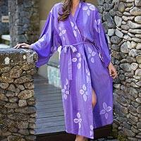 Women's batik robe, 'Kissed by Violet' - Handcrafted Rayon Women's Batik Lounging Robe
