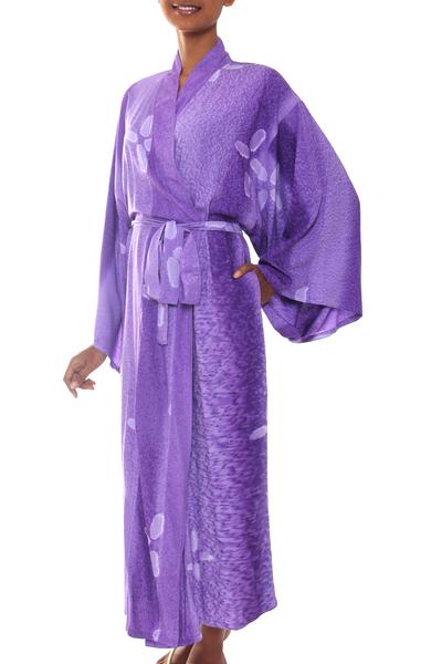 Women's batik robe, 'Kissed by Violet' - Women's Handcrafted Batik Robe