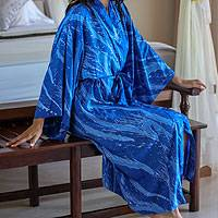 Women's batik robe, 'Sea of Sapphire' - Women's Batik Patterned Robe