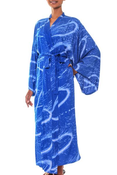 Women's batik robe, 'Sea of Sapphire' - Women's Batik Patterned Robe