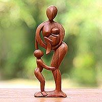 Wood sculpture, 'Abstract Family' - Hand Carved Mother and Child Sculpture
