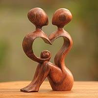 Wood sculpture, 'A Heart Shared by Two' - Handcrafted Fair Trade Romantic Wood Sculpture