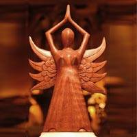 Wood sculpture, 'Angel Divine'