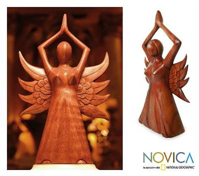 Wood sculpture, 'Angel Divine' - Wood Sculpture Handmade in Indonesia
