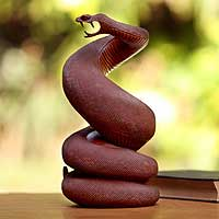 Wood sculpture, 'Serpent Guardian' - Wood Snake Sculpture