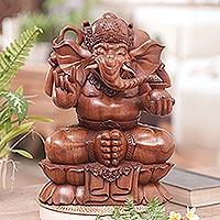 Wood statuette, 'Ganesha, Sacred Elephant-Man' - Wood statuette