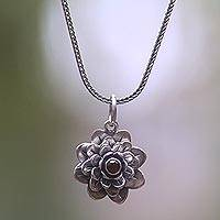 Garnet necklace, 'Sacred Red Lotus' - Floral Sterling Silver Garnet Pendant Necklace