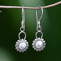Pearl dangle earrings, 'Silver Moonlight' - Sterling Silver Pearl Dangle Earrings