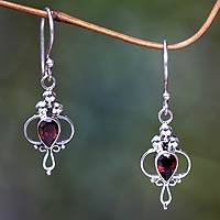 Garnet dangle earrings, 'Crimson Tears' - Garnet Sterling Silver Dangle Earrings
