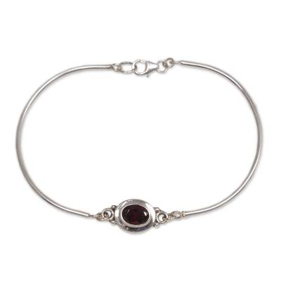 Garnet pendant bracelet, 'Moonbeam Passion' - Garnet Sterling Silver Bangle Bracelet