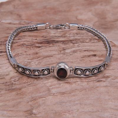 Garnet pendant bracelet, 'Cosmic Story' - Sterling Silver Garnet Bracelet