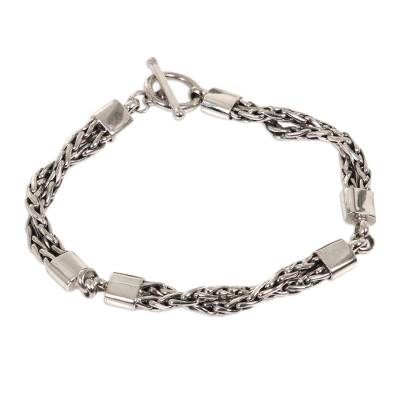 Sterling silver braided bracelet, 'Cosmic Paths' - Handmade Sterling Silver Chain Bracelet
